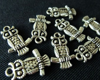 Destash (10) Cute Owl Charms - for pendants, jewelry making, crafts, scrapbooking