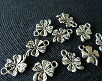 Destash (10) Four-Leaf Clover Shamrock Charms - for pendants, jewelry making, crafts, scrapbooking