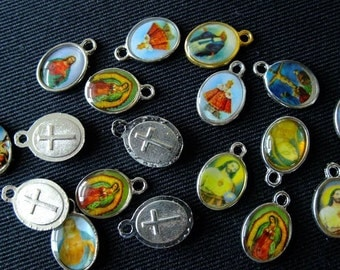 Destash (20) Religious Icon Charms - for pendants, jewelry making, crafts, scrapbooking