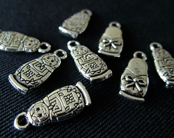 Destash (10) Small Babushka Charms - for pendants, jewelry making, crafts, scrapbooking