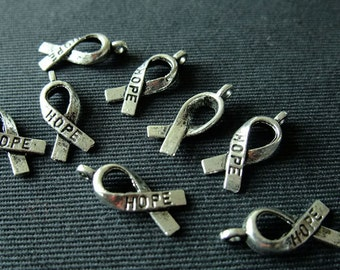 Destash (8) Hope Ribbon Charms - for pendants, jewelry making, crafts, scrapbooking