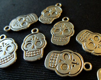 Destash (8) Day of the Dead Skull - for pendants, jewelry making, crafts, scrapbooking