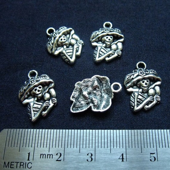 Destash (8) Day of the Dead Catrina Skeleton Charm - for pendants, jewelry making, crafts, scrapbooking