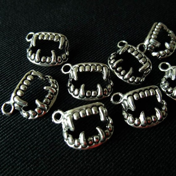 Destash (8) Vampire Fang Charms - for pendants, jewelry making, crafts, scrapbooking