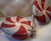 Hand Painted Wood Red Peppermint Bracelet