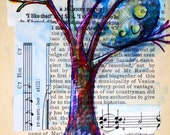 4 trees set of prints --- 4x6 --- nest, tree, spring, moon and stars --- etsy free shipping