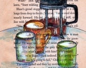 RESERVED for Elizabeth Hernandez only please - Coffee for three ---  original drawing of mugs, coffee and french press on vintage paper--- free shipping --- print in 5x7- free shipping state side