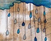 Apres Moi ... after me comes the flood- Rain cloud in blue  5x7 prints on high quality cardstock