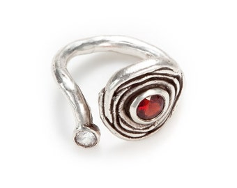 nested sterling silver open ring with garnet (or amethyst/peridot) and white sapphire