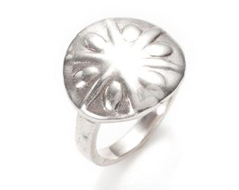 sand dollar silver ring