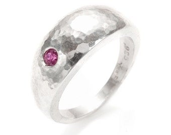 hand hammered silver dome ring with ruby or sapphire