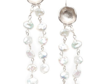 "concave shape silver earrings with keshi pearls ""charisma"""