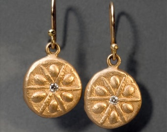 sun salutation earrings with diamonds