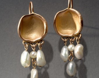 18K gold earrings with keshi pearls - charisma