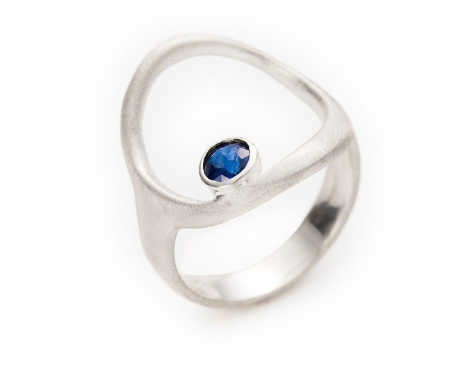 """Featured listing image: open circle silver ring with sapphire or ruby.  """"guiding star"""""""