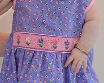 Child's Hand Smocked Romper - Posies