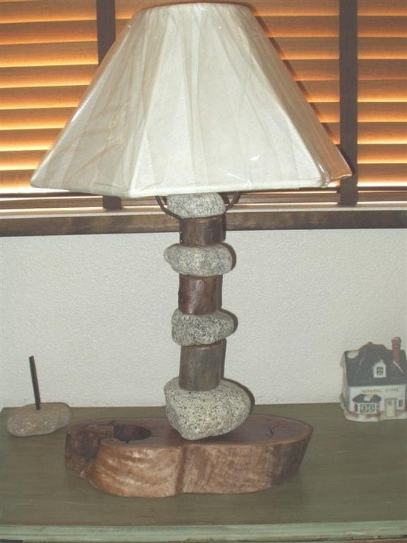 Items similar to unique wood and river rock table lamp on etsy for River rock lamp