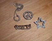 vintage - Rhinestone Jewelry Lot - Horseshoe Peace Sign Star Wild