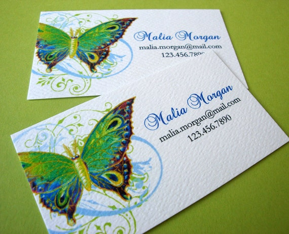 Butterfly business card custom business cards set of 50 for Butterfly business cards