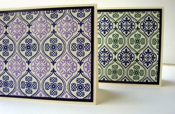 Letterpress Card Set, Note Cards, Stationery, Set of 4