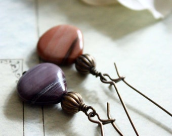 Imperial jasper beads and brass earrings