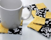 Black White and Yellow Fabric Coasters