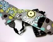 Dslr Camera Strap Slipcover with Lens Cap Pocket - Grey Aqua Lime