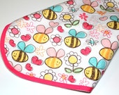 Baby Girl Receiving/Swaddling Blanket Pink with Bees