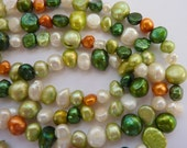 Freshwater Pearls 5mm 6mm Dark Green, White, Orange, Light Green Multi Color Full Strand