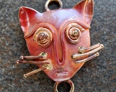 Solid Copper Connector Kitty Cat 28mm Cat Lover
