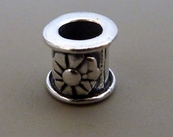 Bali Sterling Silver Barrel Bead  Flower Large Hole 6mm