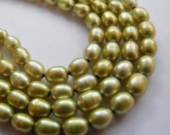 Freshwater Rice Pearls 6mm 6.5mm Light Olive Green Full Strand