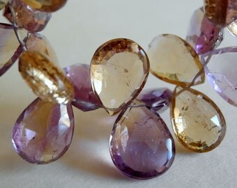 Ametrine Faceted Pear Briolettes Semi Precious Gemstone 16mm 18mm  Large 6 Pieces
