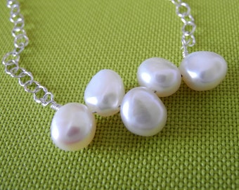 White Pearl Necklace Sterling Silver  Wedding Bridal