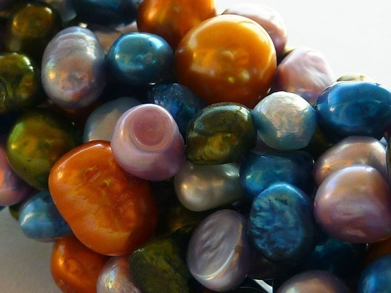 Fresh Water Pearls Pearl Beads Orange, Blue, Lavender,Green,Gray Full Strand