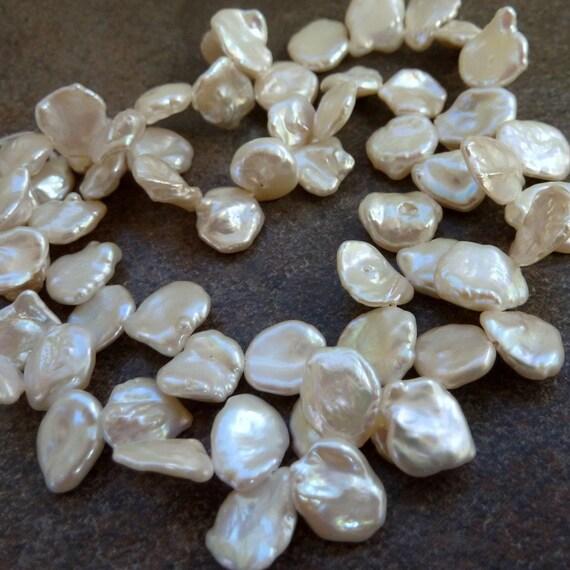 White keishi Pearl 10mm Half Strand  Top Drilled