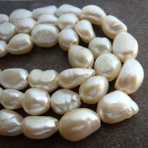 White Pearls Nugget Extra Large Hole Baroque 13mm X 10mm Full Strand
