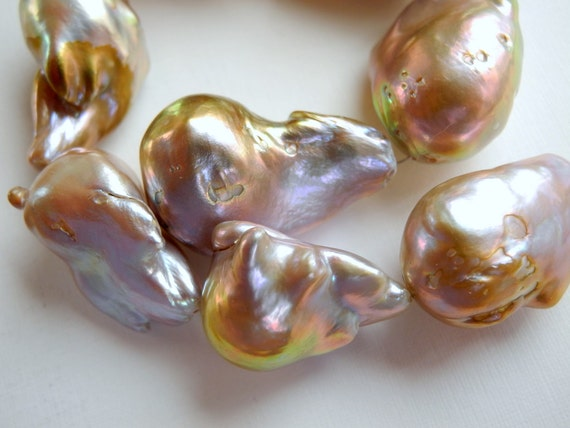 Freshwater Baroque Pearl Wrinkle Pearl Flameball Natural 22mm 29mm 8 Pieces AAA -02