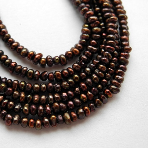 Freshwater Seed Pearls Dark Brown Pearl 2.5mm 3mm Full Strand Autumn Fall Color