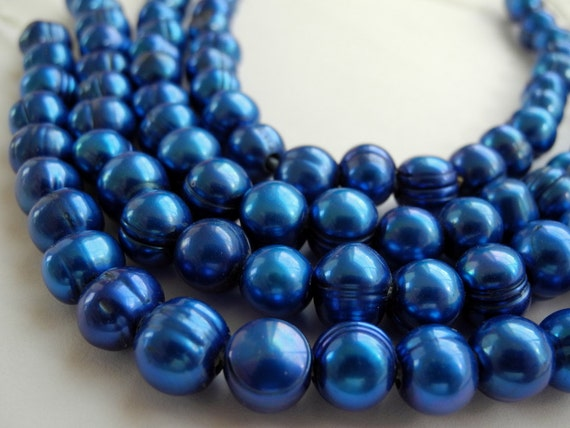 Large Hole Pearls Royal Blue  9mm  8mm Full Strand 23 Pieces