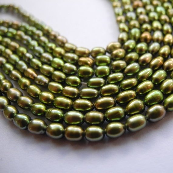 Freshwater Rice Pearls 3mm Dark Olive Green Full Strand Potty Mouth Gems