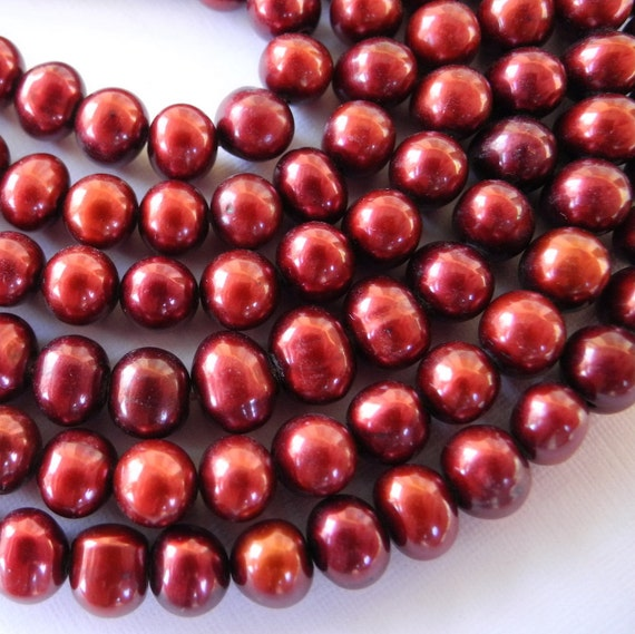 Fresh Water Pearls Cranberry Red Potato 5mm Full Strand Pottymouthgems