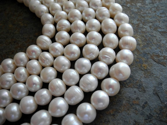 Freshwater Pearls Large Hole Pearls White  11mm Full Strand 18 Pieces