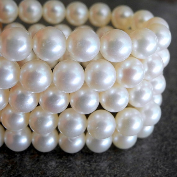 Freshwater Pearl White Round Cultured Pearls 7mm  AAA Full Strand 48 Pearls