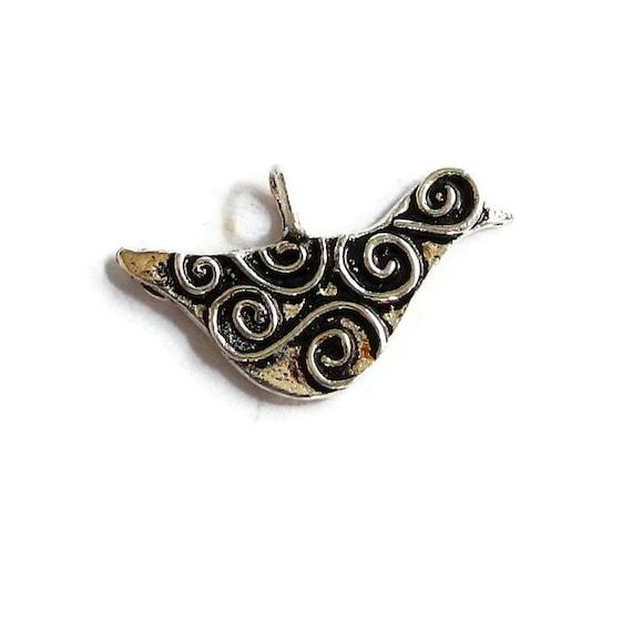 Bird Charm Sterling Silver Charm Oxidized Silver Artisan Swirly 20mm 13mm