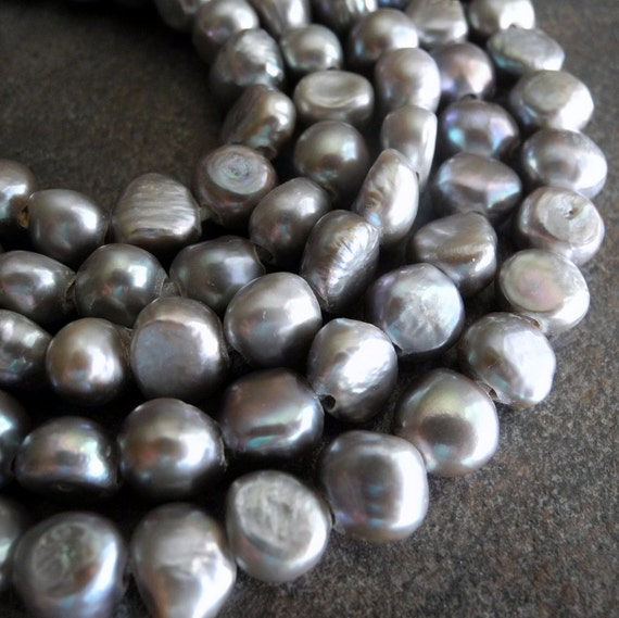 Freshwater Pearls Nugget Pearl Large Hole Pearl Gray Grey Silver 9mm 10mm 23 Pieces