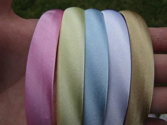 1 half inch satin headband - pastel colors - you choose