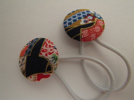 Kimono fabric design button hair ties