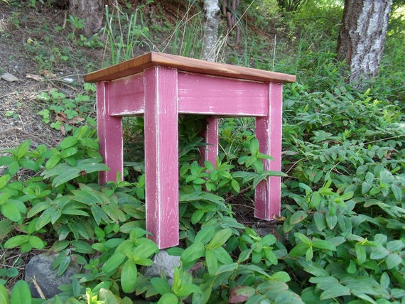 Antiqued Red Painted, Black Cherry Topped End, Side Table, Bench