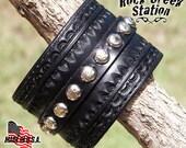 Cowboy Tooled Star Spotted Rock Creek Wrist Cuff Handmade Leather Bracelet